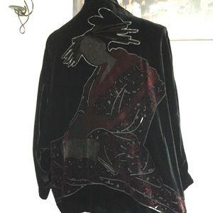 Chico's Velvet Burnout Geisha Graphic Kimono